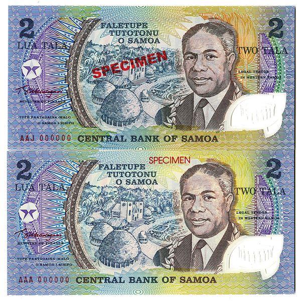 Central Bank of Samoa. 1990. Lot of 2 Specimen Notes.