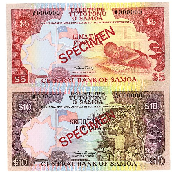 Central Bank of Samoa. ND (2002). Lot of 2 Specimen Notes.