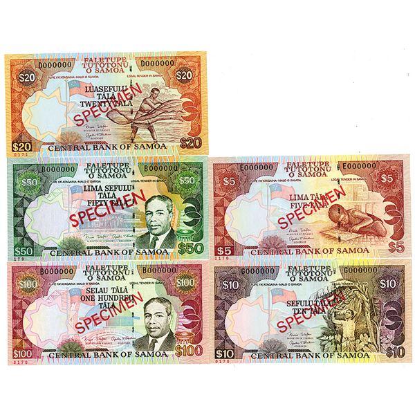 Central Bank of Samoa. ND (2002-2006). Lot of 5 Specimen Notes.