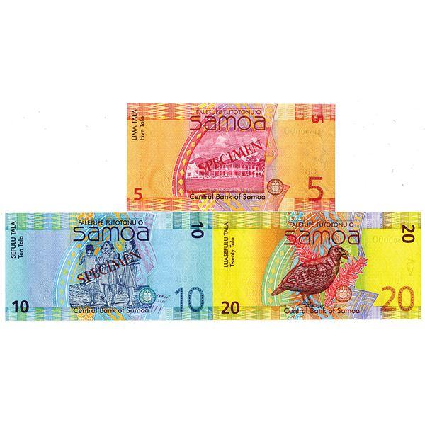 Central Bank of Samoa. ND (2008-2017). Lot of 3 Specimen Notes.