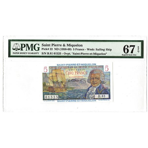 Caisse Centrale de la France d'Outre-Mer ND(1950-60) 5 Francs, Bank Note Issue