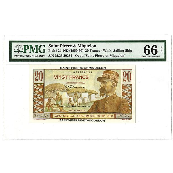 Caisse Centrale de la France d'Outre-Mer ND(1950-60) 20 Francs, Bank Note Issue