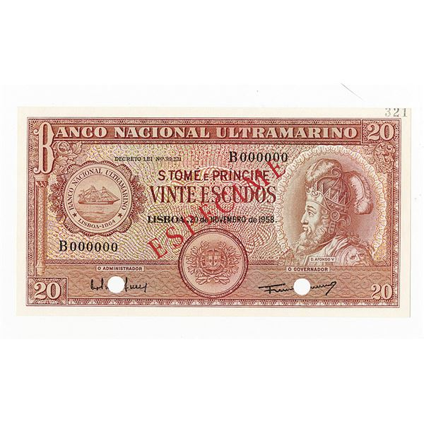 Banco Nacional Ultramarino. 1958. Specimen Note.