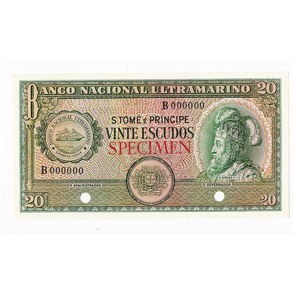 Banco Nacional Ultramarino. 1958. Color Trial Note.