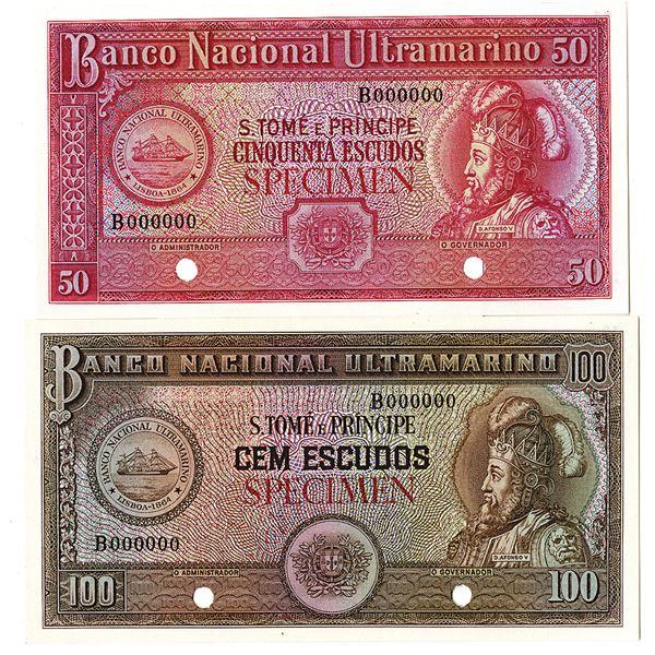 Banco Nacional Ultramarino. ND (1958). Lot of 2 Color Trial Notes.