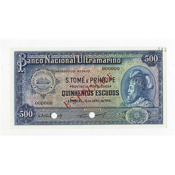 Banco Nacional Ultramarino. 1956. Specimen Note.