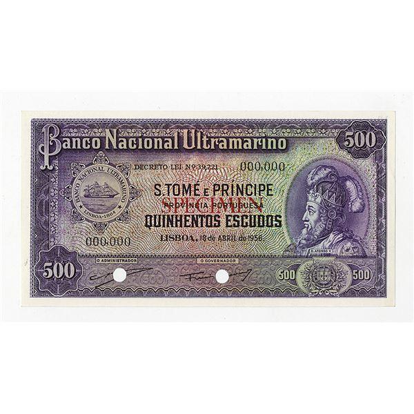 Banco Nacional Ultramarino. 1956. Color Trial Note.