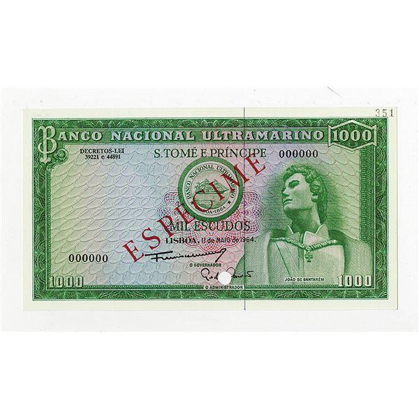 Banco Nacional Ultramarino. 1964. Specimen Note.