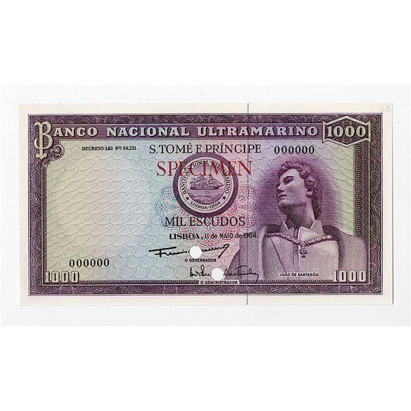 Banco Nacional Ultramarino. 1964. Color Trial Note.