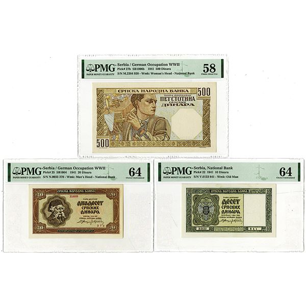 Serbia National Bank. 1941. Lot of 3 Issued Notes.