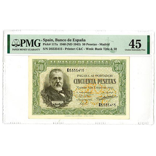 Banco de Espa_a. 1940 (ND 1943) Issue Banknote.