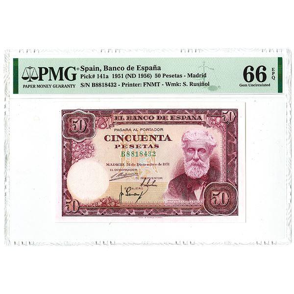 Banco de Espa_a. 1951 (ND 1956) Issue Banknote.