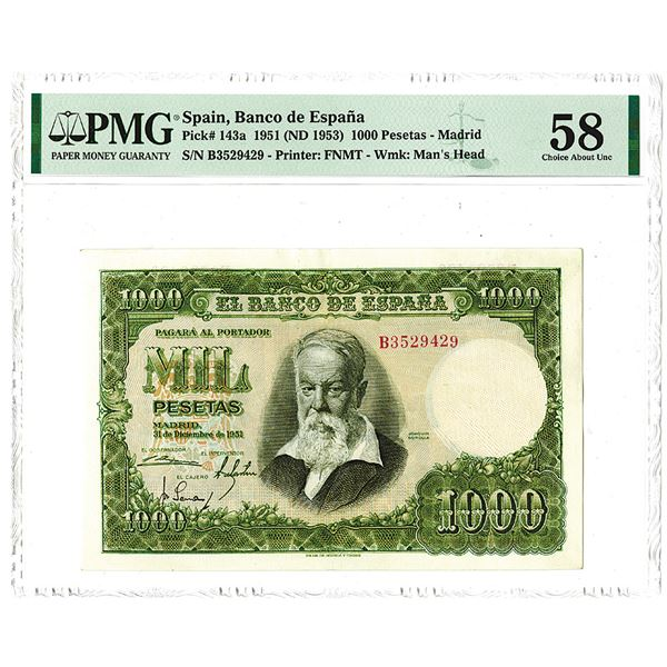 Banco de Espa_a. 1951 (ND 1953) Issue Banknote.