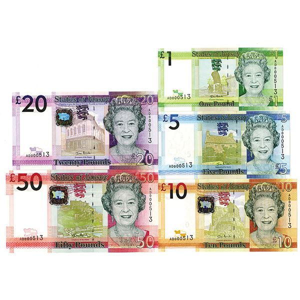 States of Jersey, 2010 ND Issue Set of 5 Notes with Matching S/N 000513