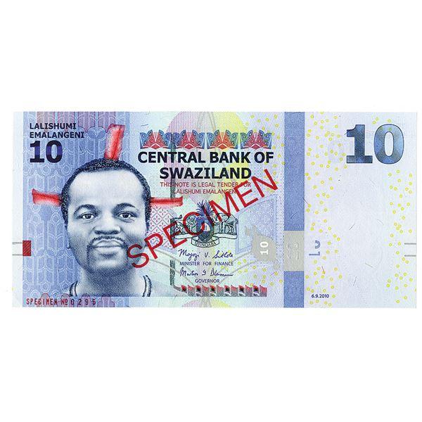 Central Bank of Swaziland. 2010. Specimen Note.