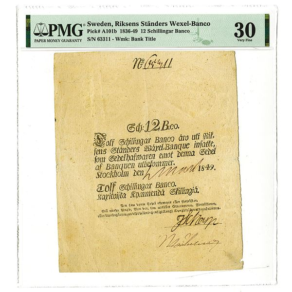 Riksens Standers Wexel-Banco, 1849 Issue Banknote.