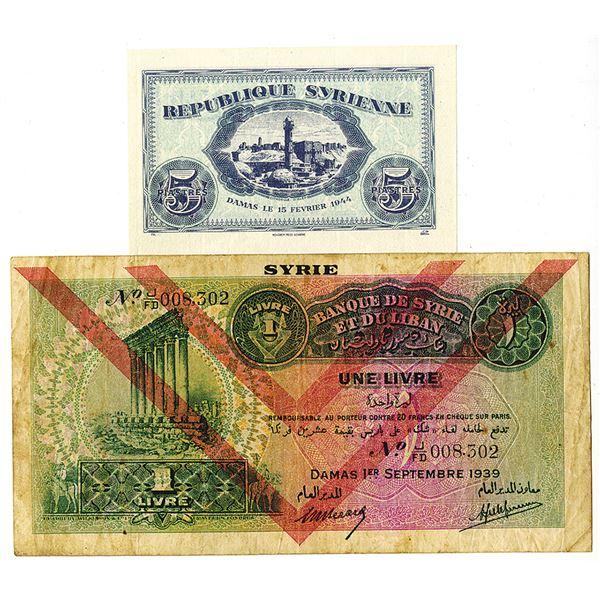 Republique Syrienne & Banque de Syrie et du Liban. 1939-1944. Lot of 2 Issued Notes.