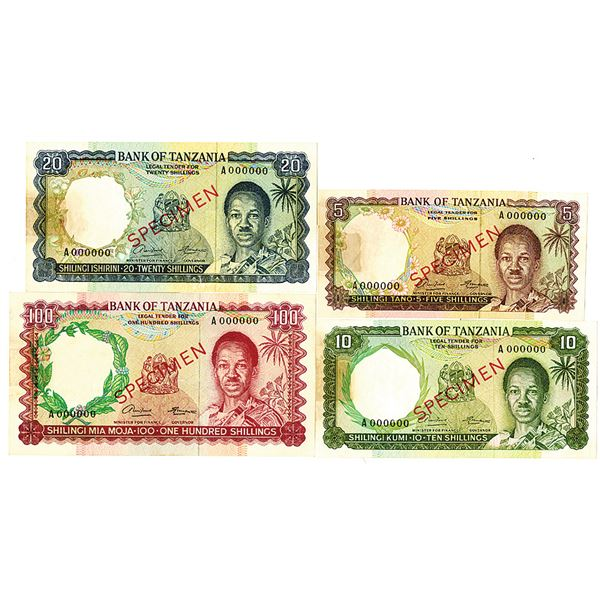 Bank of Tanzania. ND (1966). Lot of 4 Specimen Notes.