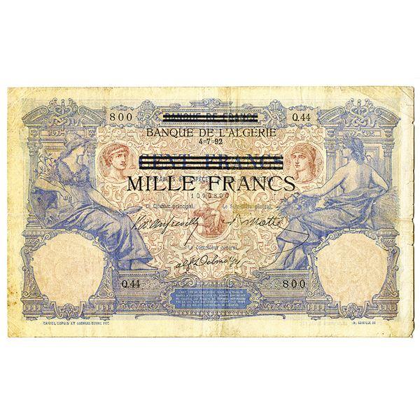 Banque De L'Algeria, 1942 Provisional Issue Banknote
