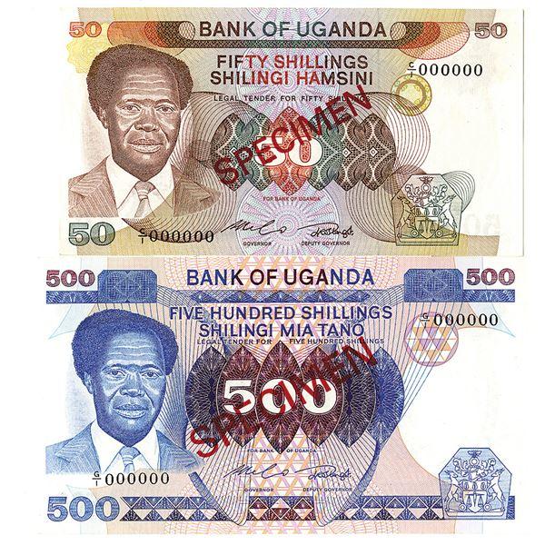 Bank of Uganda. ND (1983-1985). Lot of 2 Specimen Notes.