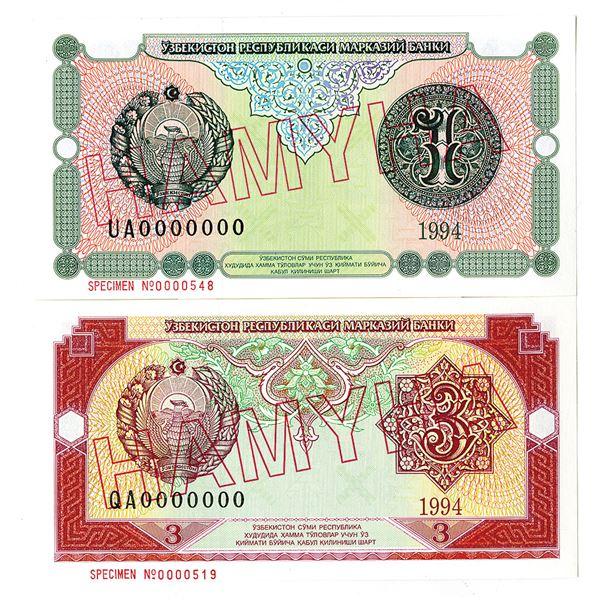 Uzbekiston Davlat Banki. 1994. Lot of 2 Specimen Notes.