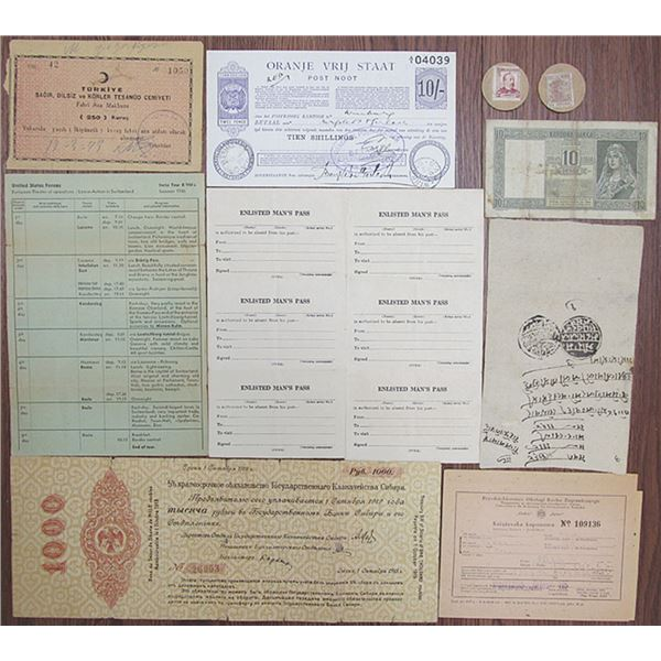 Foreign Banknote, Scrip Note and Ephemera Group Lot, ca. 1900-1940