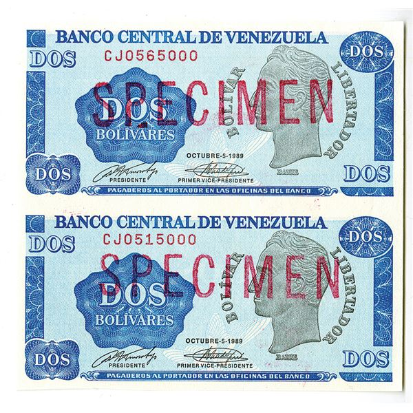 Banco Central de Venezuela. 1989. Uncut Vertical Pair of Specimen Notes.