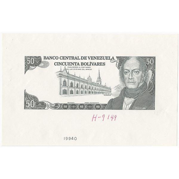 Banco Central De Venezuela, 1990-92 Progress Proof Banknote.