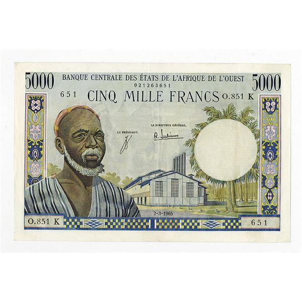 """Banque Centrale Des Etats De L'Afrique De L'Ouest, 1965 """"Senegal"""" Issue Banknote."""