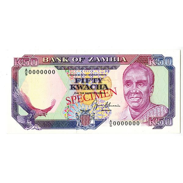 Bank of Zambia. ND (1989-1991). Specimen Note.