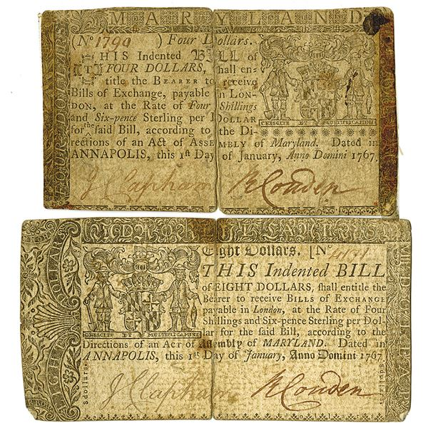 Continental Currency. 1767. Lot of 2 Issued Notes.