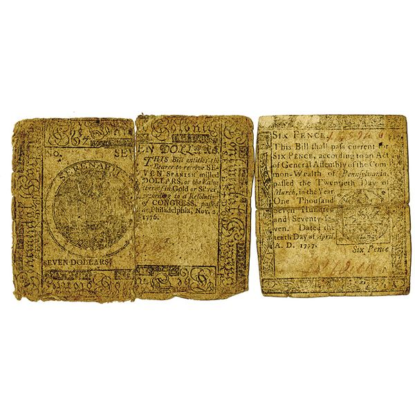 Continental Currency. 1776-1777. Lot of 2 Issued Notes.