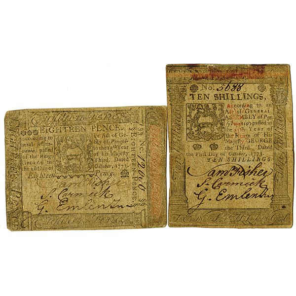 Pennsylvania, Continental Currency. 1773. 10 Shillings and 18 Pence, Lot of 2 Issued Notes.