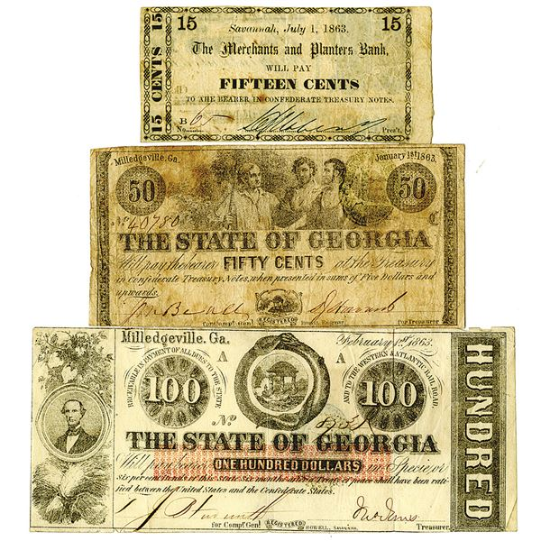 Georgia, Merchants and Planters Bank, 1863, 15 Cents and 1863. State of Georgia Pair, Lot of 3 Issue