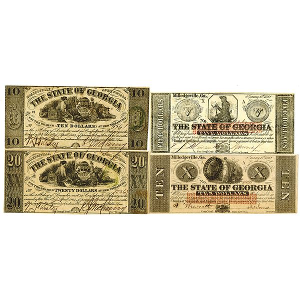 State of Georgia. 1862 & 1864. Lot of 4 Issued Obsolete Notes.