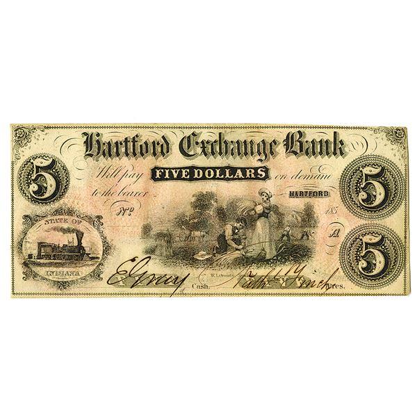 Hartford Exchange Bank. 1850s. Remainder Note Spuriously Signed.