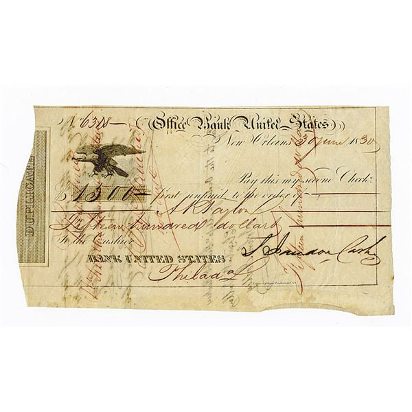 Bank United States, 1830 Issued Check Duplicate