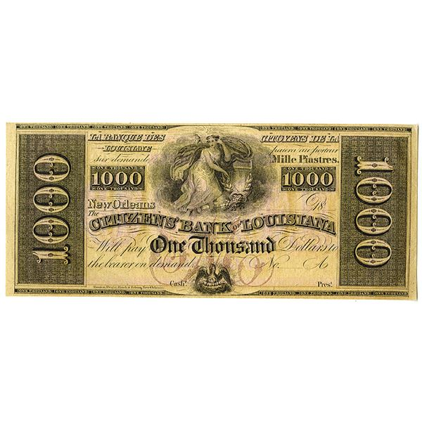 Citizens' Bank of Louisiana. ca. 1840s. Remainder Obsolete Banknote.