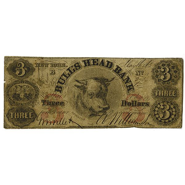 Bull's Head Bank. 1863 Issued Obsolete Banknote.