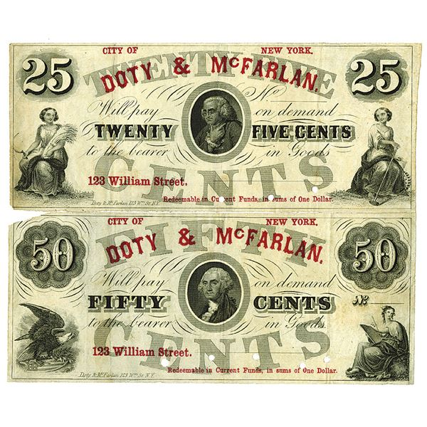 DOTY & McFarlan. ca. 1860s. Lot of 2 Unissued Obsolete Scrip Notes.