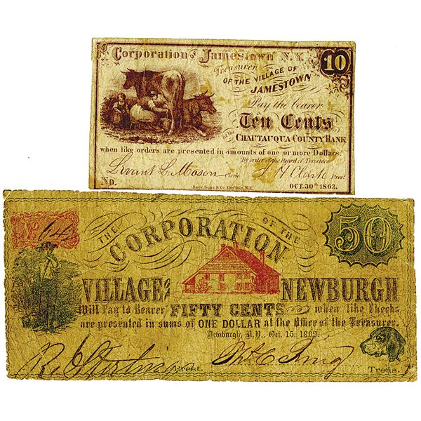 Jamestown, NY and Newburgh, NY. 1862. Lot of 2 Issued Obsolete Banknotes.