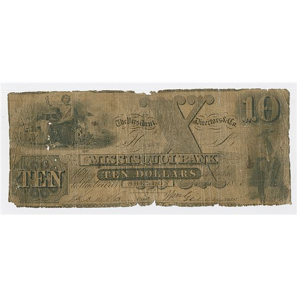 Sheldon, VT- Missisquoi Bank, $10, July 1, 1852, G18, Issued Obsolete Banknote.