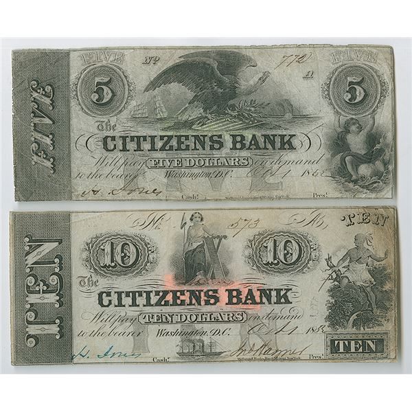 Citizens Bank, 1852 Issued Obsolete Banknote Pair.