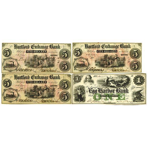 Hartford Exchange Bank & Egg Harbor Bank. 1858-1863. Lot of 4 Issued Obsolete Notes.