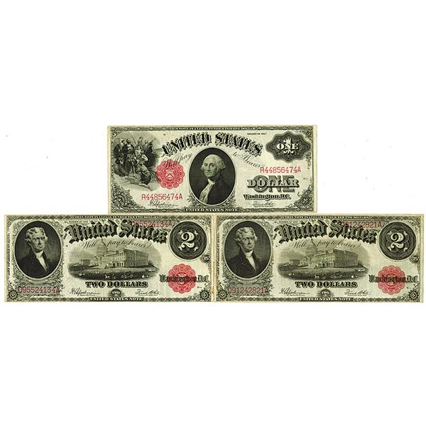 United States Note. Series of 1917. $1 and $2 (2) Lot of 3 Issued Notes.