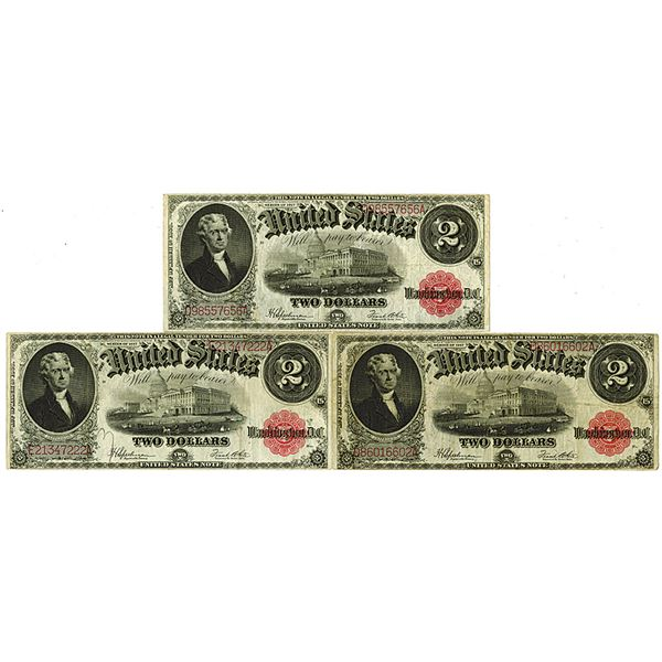 United States Note. Series of 1917. Lot of 3 Issued Notes.