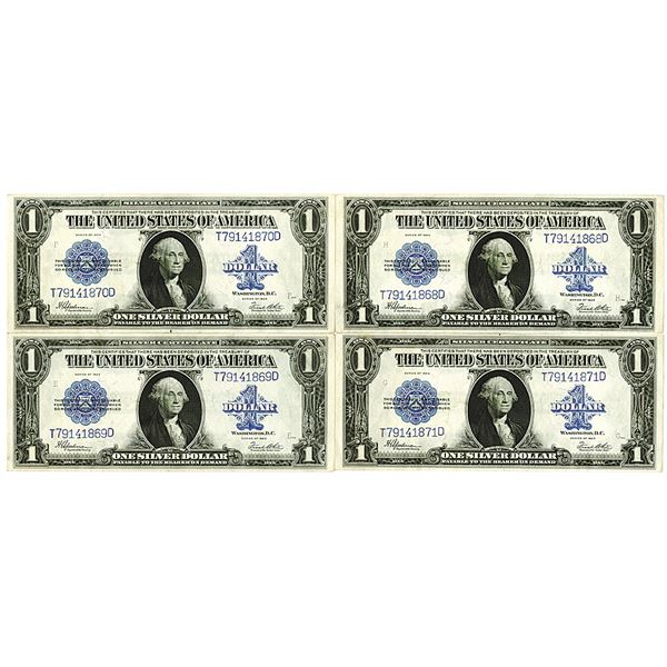 Silver Certificate. Series of 1923. $1, Fr.# 237, Lot of 4 Sequential Issued Notes.