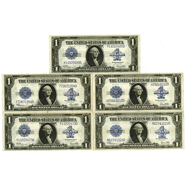 Silver Certificate. Series of 1923. $1, Fr.#237 and 238 Lot of 5 Issued Notes.
