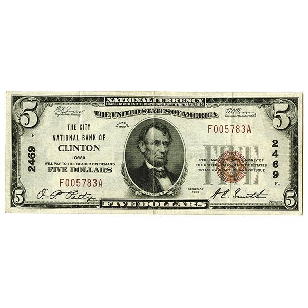 Iowa, City National Bank of Clinton, IA. 1929. $5, TI, Ch#2469, Issued Note.