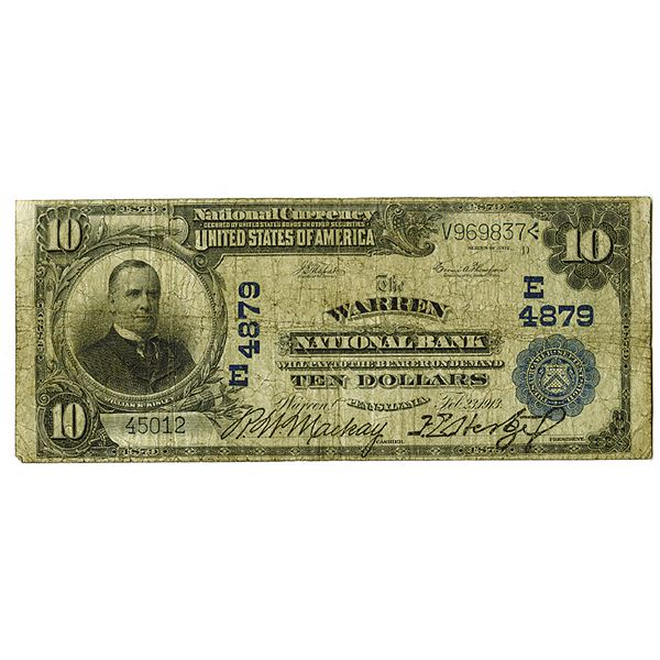 Pennsylvania. Warren NB. 1902 (1913). Ch.# 4879 E, Issued Note.